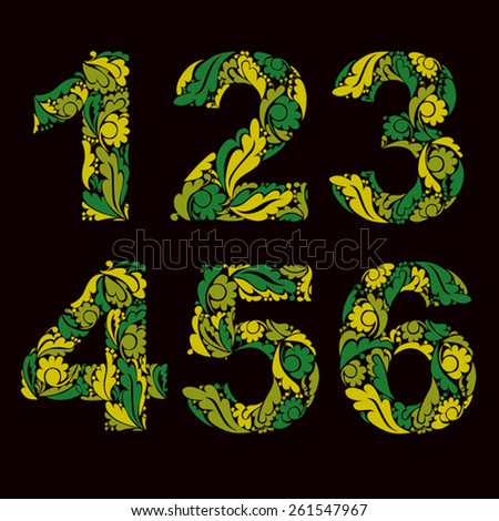 Vector numeration decorated with seasonal spring leaves, 1, 2, 3, 4, 5, 6. Vintage ornamental numbers. - stock vector