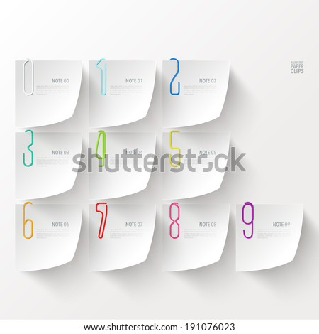 Vector Numeric Paper Clip Set - stock vector