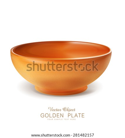 vector object - an orange plate / bowl (isolated) - stock vector