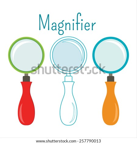 vector object magnifier. Different designs flat line. - stock vector
