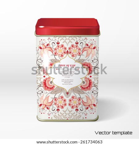 Vector object. Square tin packaging. Tea, coffee, dry products. Curved tree branch with fantastic flowers, leaves, tendrils and berries. Tree of Life collection. Frame for your text. - stock vector