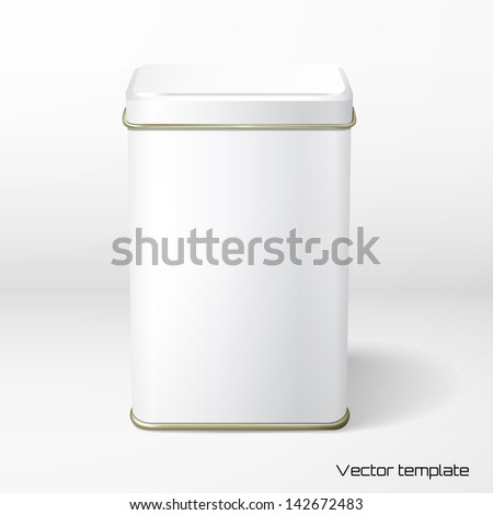 Vector object. White square tin packaging. Tea, coffee, dry products. Place your design. - stock vector