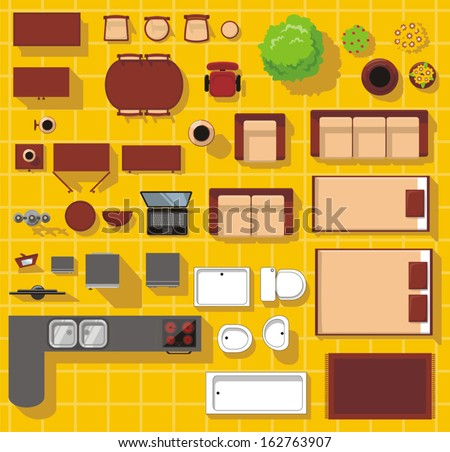 Vector objects for house plan - stock vector