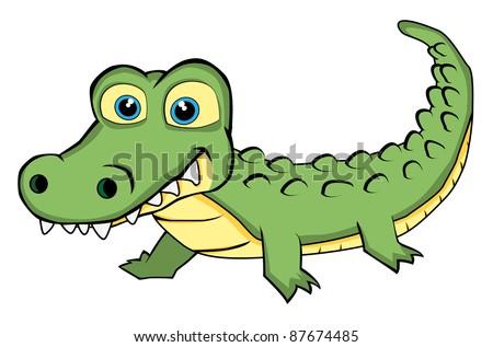 Vector of a Cute Looking Crocodile - stock vector