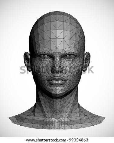 Vector of a gray female head - stock vector