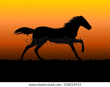 Vector of a Horse running in sunset background  - stock vector