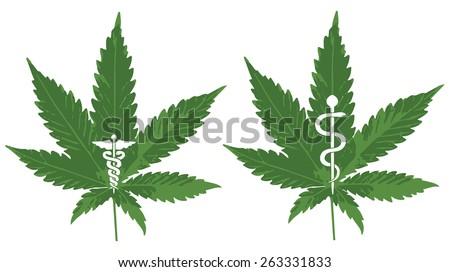 Vector of a Marijuana leaf with Caduceus and Rod of Asclepius to symbolize medicinal Marijuana - stock vector