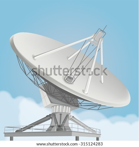 Vector of a Satellite Dish with Blue Sky Background. Telecommunication Technology Illustration. - stock vector