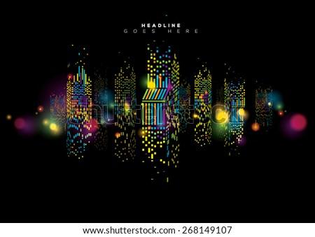 Vector of abstract city skyline - stock vector