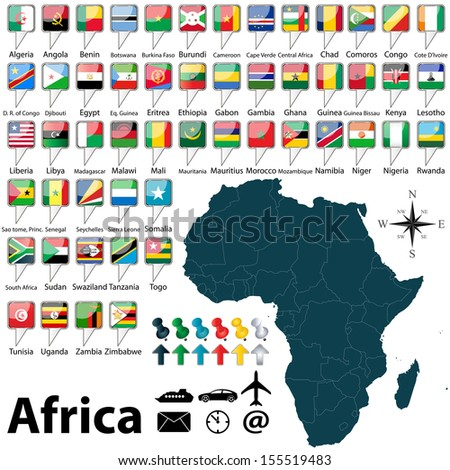 Vector of Africa set with buttons and flags on white background - stock vector