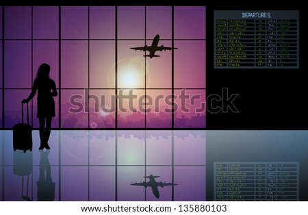 Vector of airline passenger with luggage walking past a flight - stock vector