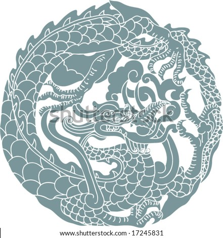 Vector of Ancient Chinese Dragon Pattern - stock vector