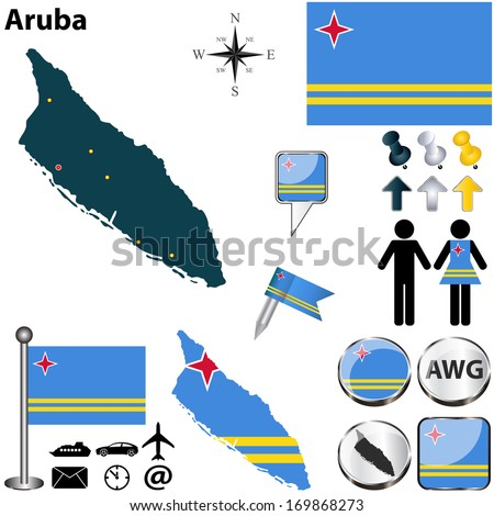 Vector of Aruba set with detailed country shape with region borders, flags and icons - stock vector