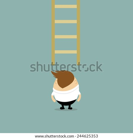 Vector of back view Chubby Businessman looking on ladder concept to be success, looking for opportunity  - stock vector