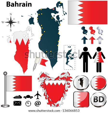 Bahrain Map Vector Vector of Bahrain Set With