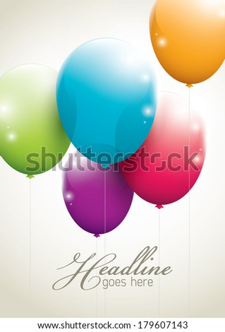 vector of balloons in simple background - stock vector