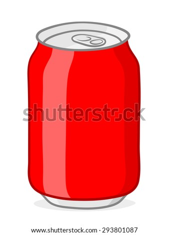 Vector of blank red soda can with silver top and ring pull on white background - stock vector