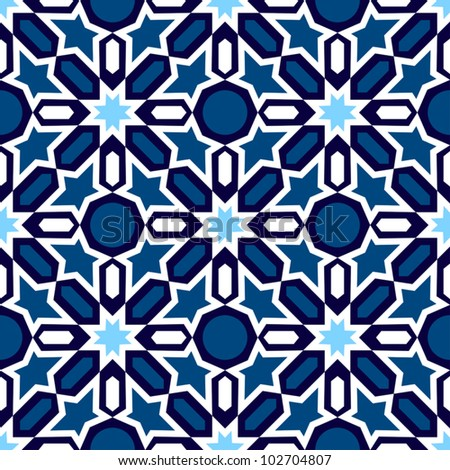Vector of blue and white mosaic in traditional Islamic design - stock vector