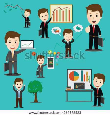 Vector of business man financial set .for web design ,banner ,magazine - stock vector