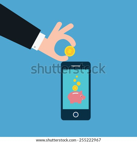 vector of business man saving money in piggy bank online. concept of profit etc. - stock vector