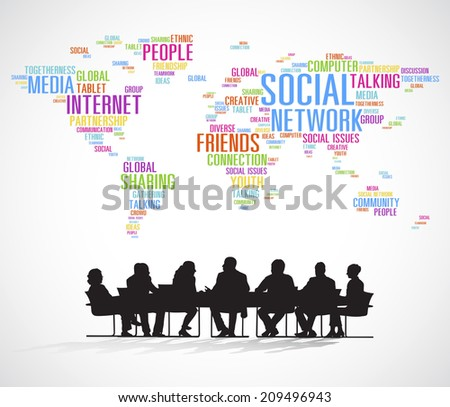 Vector of Business Meeting with Cartography  - stock vector