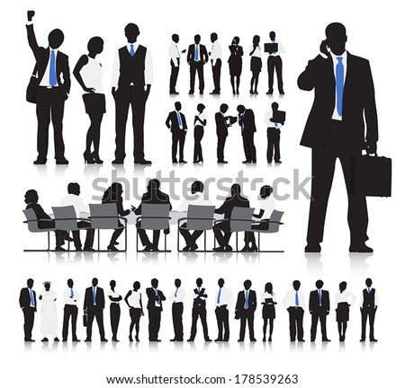Vector of Business People in Various Situations - stock vector