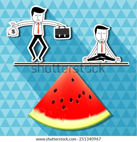 Vector of businessman holding money dollar sign and bag work balancing with businessman doing yoga on watermelon scales balance. idea balance your healthy life business concept  - stock vector