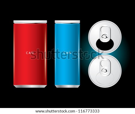 Vector of cans with the ring pull. - stock vector