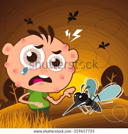 Vector of Cartoon Mosquito bite at garden - stock vector