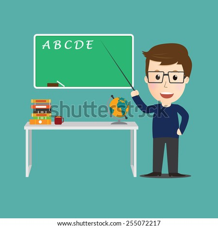 Vector of Character  teacher cartoon education concept. - stock vector