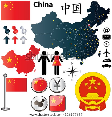 Vector of China set with detailed country shape with region borders, flags and icons - stock vector