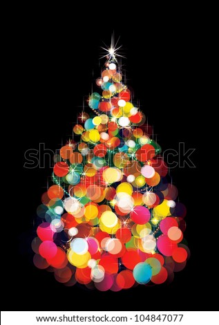 Vector of Christmas tree  lights  on  black background - stock vector