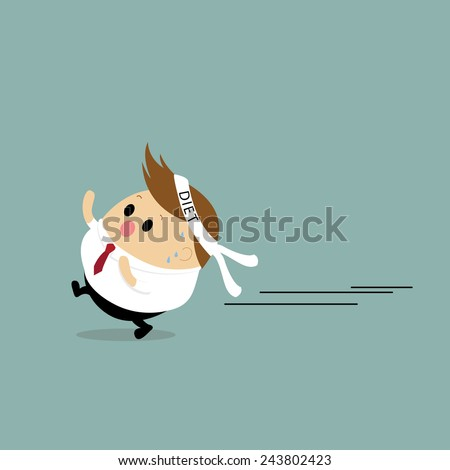 Vector of Chubby Businessman running for diet - stock vector