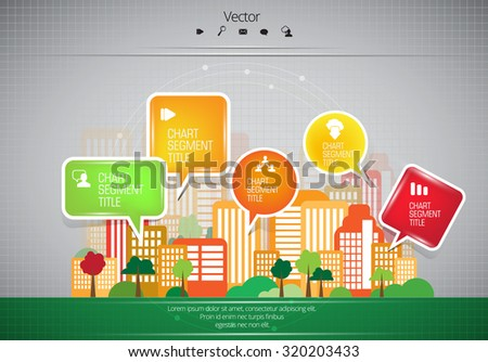Vector of city skyline with infographics elements - stock vector