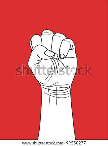 Vector of clenched fist held high, Winning, leading sign. - stock vector