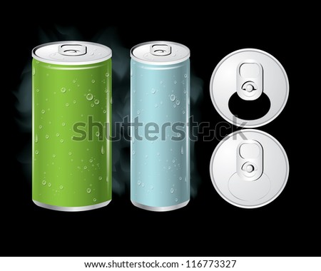Vector of cold cans with the ring pull. - stock vector