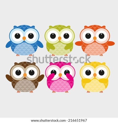Vector of colorful owls - stock vector