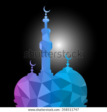Vector of Colorful Polygonal Crystal Mosque /Ramadan Kareem Colorful Mosaic Mosque. - stock vector
