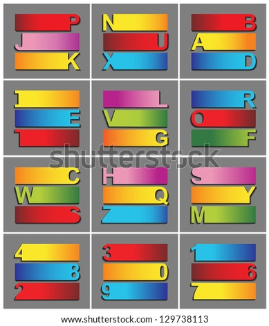 vector of colorful ribbon alphabet - stock vector