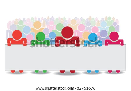 vector of crowd holding label, with area for text - stock vector