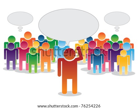 vector of crowd thinking and leader with area for text - stock vector