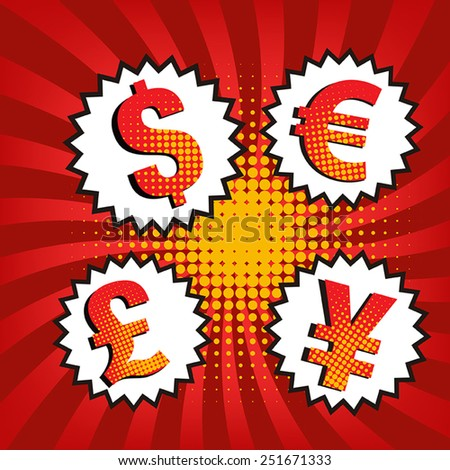 vector of currency icons with comic style. - stock vector