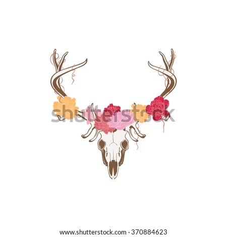 Vector of deer skull with flowers.  Illustration suitable for design element, logo or tattoo - stock vector