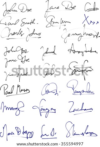 Vector of different handwritten signatures with blue and black ink pen - stock vector
