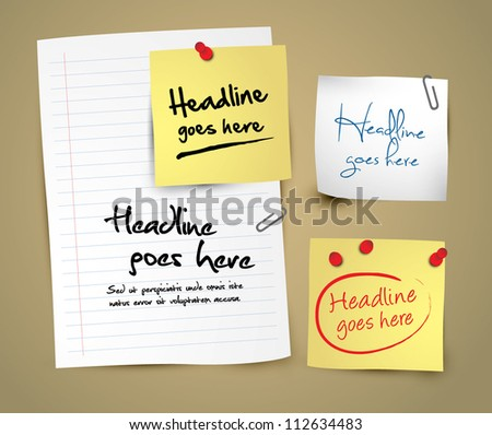 vector of different notepads and papers - stock vector