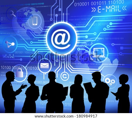Vector of E-mail System and Business People - stock vector