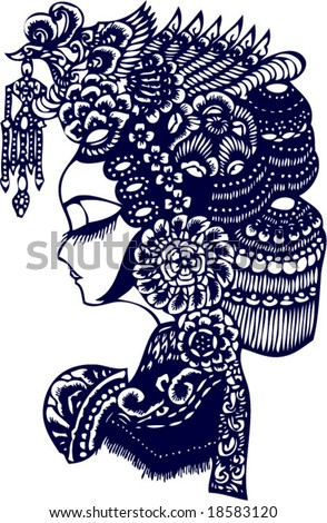 Vector of Facial makeup Pattern in Traditional Beijing Opera - stock vector