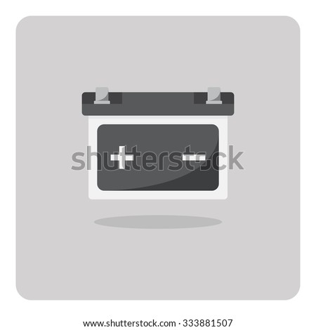 Vector of flat icon, car battery on isolated background - stock vector