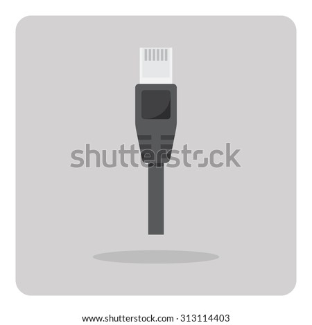 Vector of flat icon, ethernet cable on isolated background - stock vector