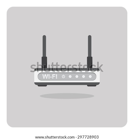 Vector of flat icon, wifi router on isolated background - stock vector